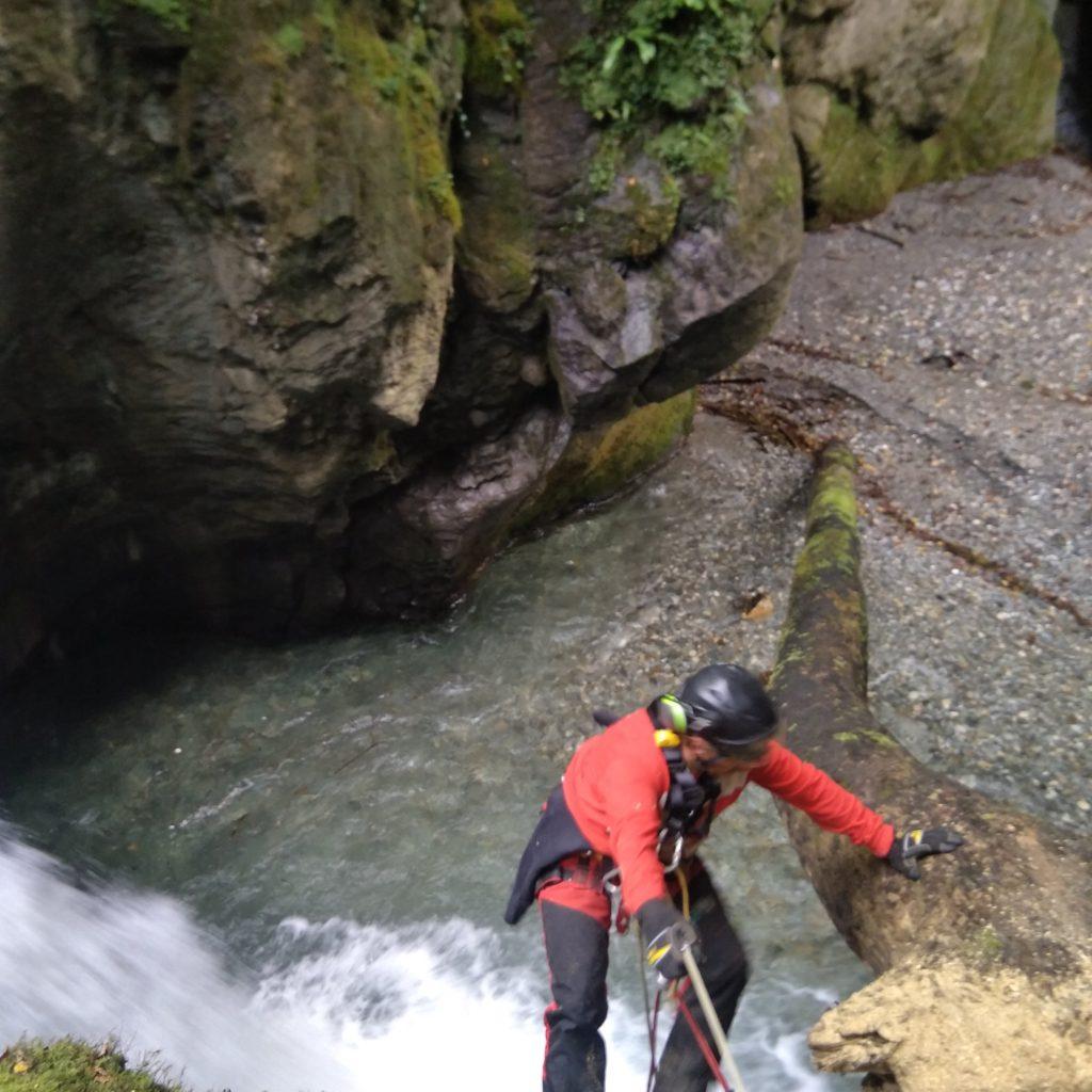 opration de sécurisation d'un arbre tombé en rivière avant son démontage par tronçonnage dans le canyon